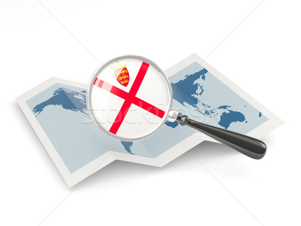 Magnified flag of jersey with map Stock photo © MikhailMishchenko