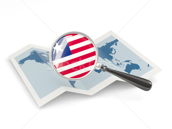 Magnified flag of liberia with map Stock photo © MikhailMishchenko