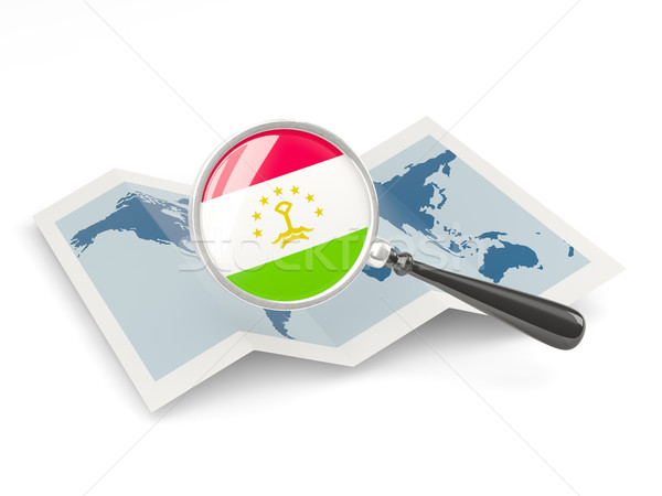 拡大された フラグ タジキスタン 地図 白 ストックフォト © MikhailMishchenko