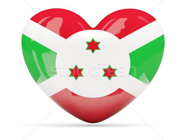 Coração ícone bandeira Burundi isolado Foto stock © MikhailMishchenko
