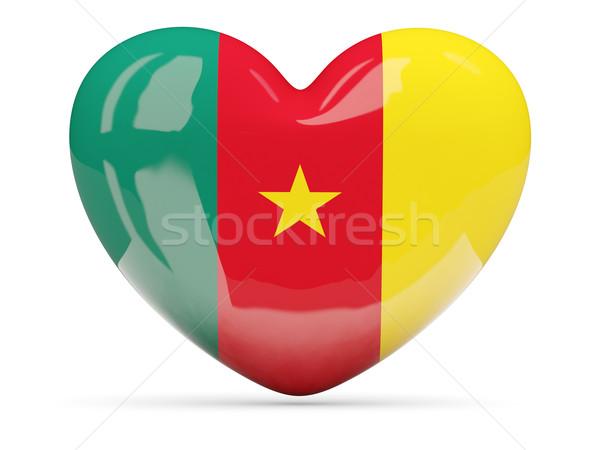 Serca ikona banderą Kamerun odizolowany Zdjęcia stock © MikhailMishchenko