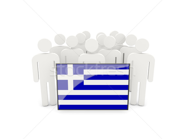 People with flag of greece Stock photo © MikhailMishchenko