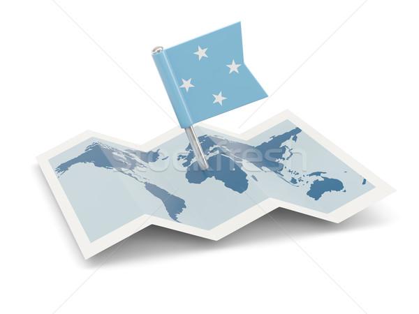 地図 フラグ ミクロネシア 孤立した 白 ストックフォト © MikhailMishchenko