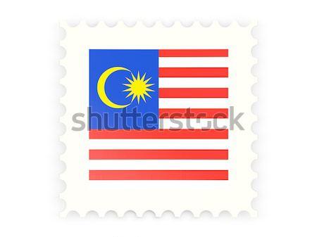 Kare etiket bayrak Malezya yalıtılmış beyaz Stok fotoğraf © MikhailMishchenko