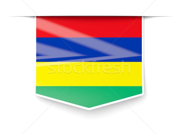 квадратный Label флаг Маврикий изолированный белый Сток-фото © MikhailMishchenko