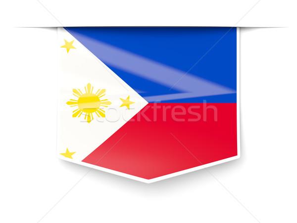 Tér címke zászló Fülöp-szigetek izolált fehér Stock fotó © MikhailMishchenko