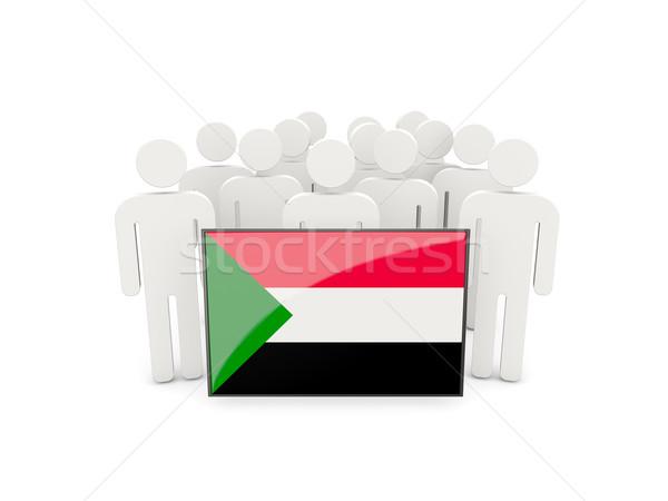 Mensen vlag Soedan geïsoleerd witte menigte Stockfoto © MikhailMishchenko