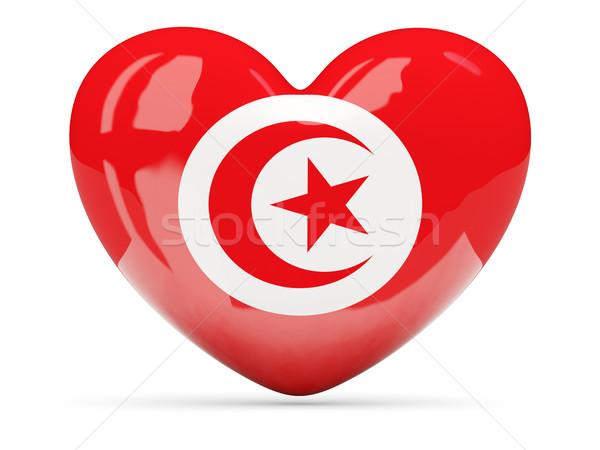 Kalp ikon bayrak Tunus yalıtılmış Stok fotoğraf © MikhailMishchenko