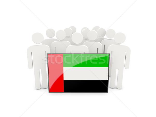 Insanlar bayrak Birleşik Arap Emirlikleri yalıtılmış beyaz kalabalık Stok fotoğraf © MikhailMishchenko