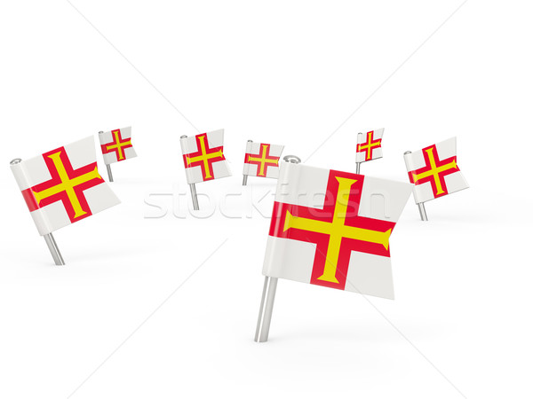 Square pins with flag of guernsey Stock photo © MikhailMishchenko