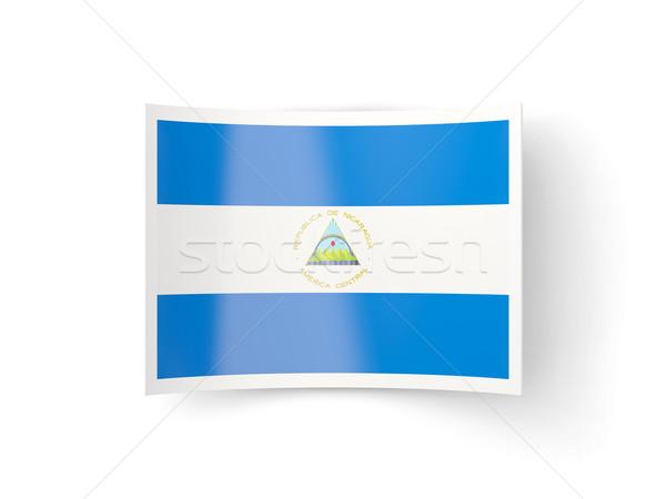 ícone bandeira Nicarágua isolado branco país Foto stock © MikhailMishchenko