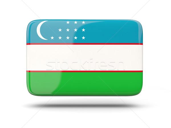 квадратный икона флаг Узбекистан тень знак Сток-фото © MikhailMishchenko
