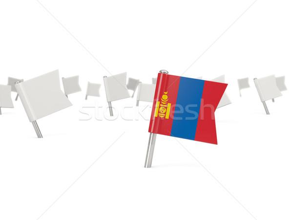 Tér tő zászló Mongólia izolált fehér Stock fotó © MikhailMishchenko