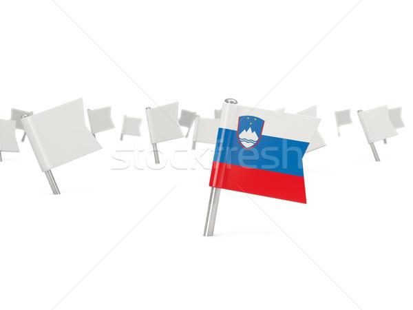 квадратный Pin флаг Словения изолированный белый Сток-фото © MikhailMishchenko