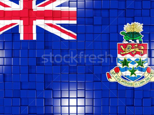 Background with square parts. Flag of cayman islands. 3D illustr Stock photo © MikhailMishchenko