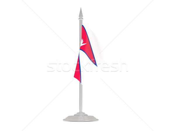 Banderą Nepal maszt 3d odizolowany biały Zdjęcia stock © MikhailMishchenko