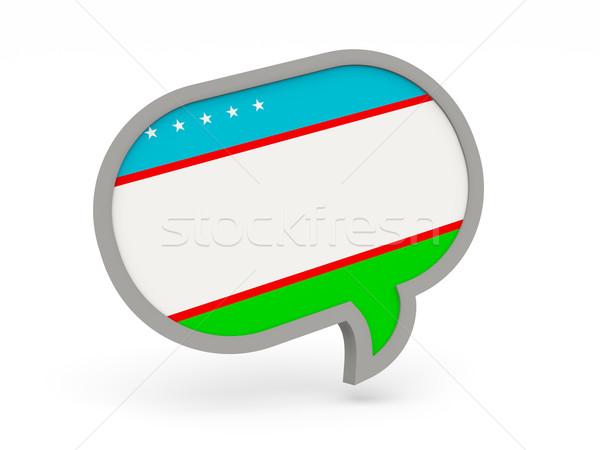 Chat ikon zászló Üzbegisztán izolált fehér Stock fotó © MikhailMishchenko