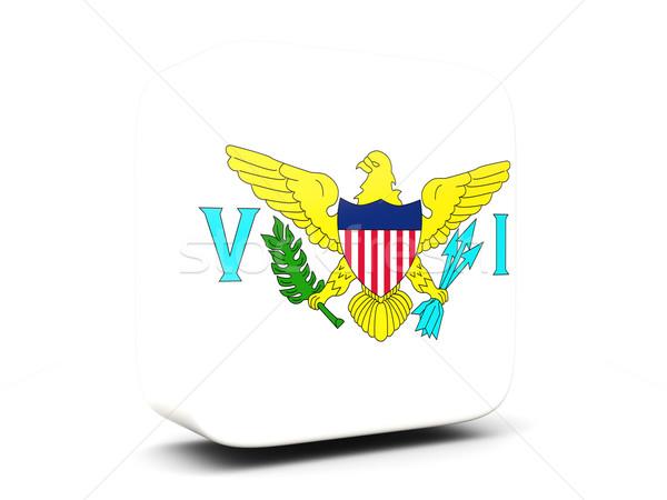 квадратный икона флаг Виргинские о-ва 3D изолированный Сток-фото © MikhailMishchenko