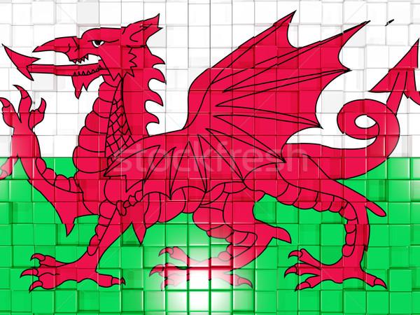 Vierkante onderdelen vlag wales 3d illustration mozaiek Stockfoto © MikhailMishchenko