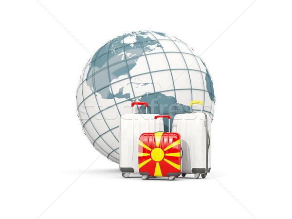 Equipaje bandera tres bolsas mundo 3d Foto stock © MikhailMishchenko