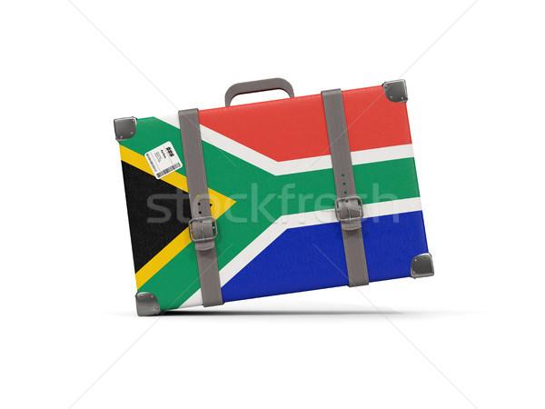 Gepäck Flagge Südafrika Koffer isoliert weiß Stock foto © MikhailMishchenko