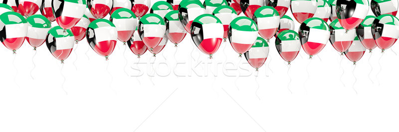 Balões quadro bandeira Kuweit isolado branco Foto stock © MikhailMishchenko