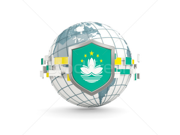 Globe and shield with flag of macao isolated on white Stock photo © MikhailMishchenko