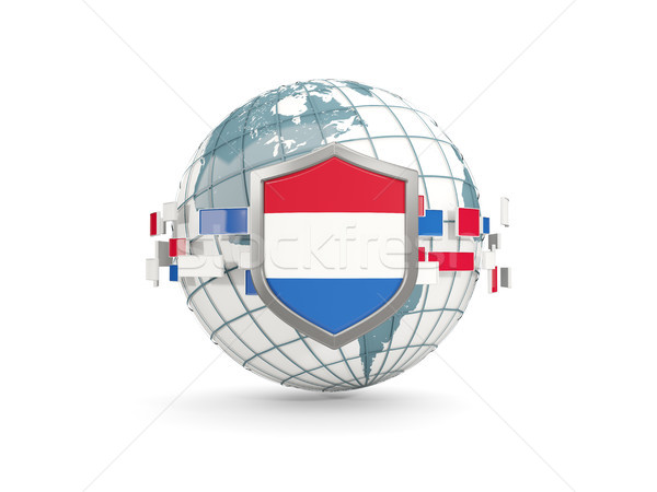 Globe and shield with flag of netherlands isolated on white Stock photo © MikhailMishchenko
