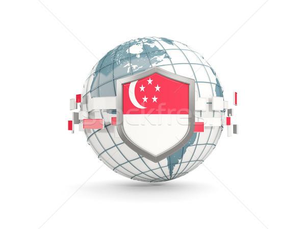 Mondo scudo bandiera Singapore isolato bianco Foto d'archivio © MikhailMishchenko