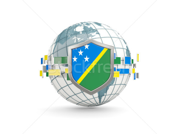 Stock photo: Globe and shield with flag of solomon islands isolated on white