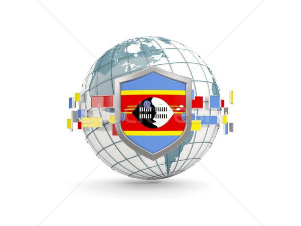świecie tarcza banderą Suazi odizolowany biały Zdjęcia stock © MikhailMishchenko