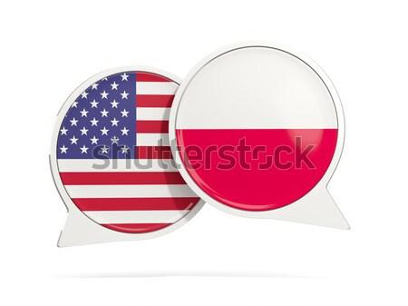 Сток-фото: чате · пузырьки · США · Польша · изолированный · белый