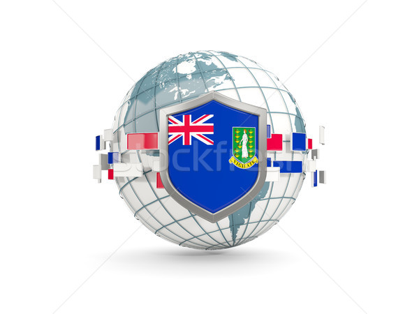 Globe and shield with flag of virgin islands british isolated on Stock photo © MikhailMishchenko