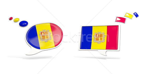 Two chat icons with flag of andorra Stock photo © MikhailMishchenko