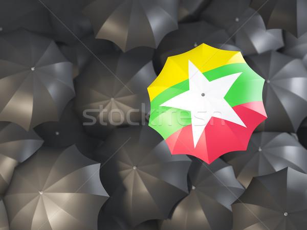 Paraguas bandera Myanmar superior negro paraguas Foto stock © MikhailMishchenko