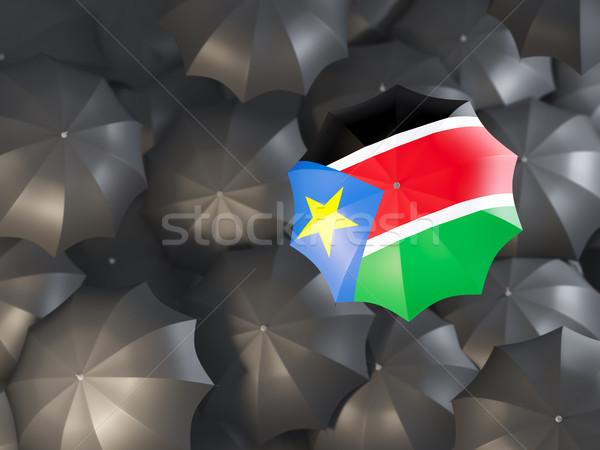 Paraplu vlag zuiden Soedan top zwarte Stockfoto © MikhailMishchenko