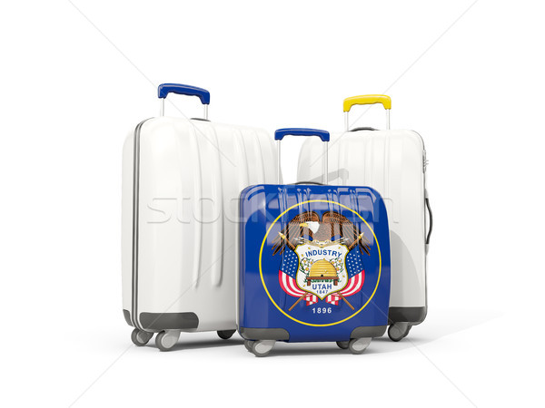 Stock photo: Luggage with flag of utah. Three bags with united states local f
