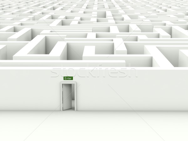 Stock photo: White maze with enter door