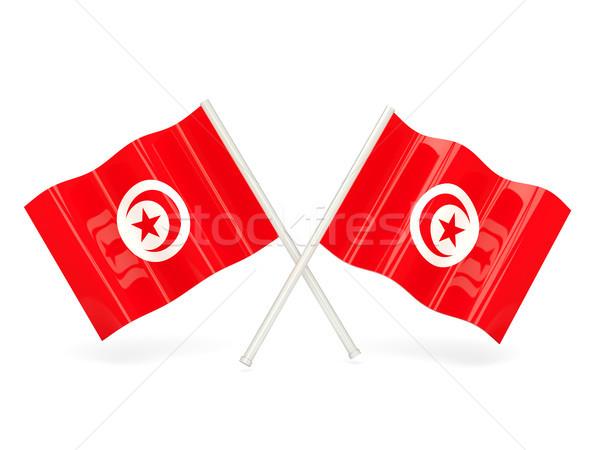 флаг Тунис два волнистый флагами изолированный Сток-фото © MikhailMishchenko