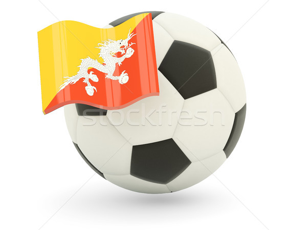 Voetbal vlag Bhutan geïsoleerd witte sport Stockfoto © MikhailMishchenko