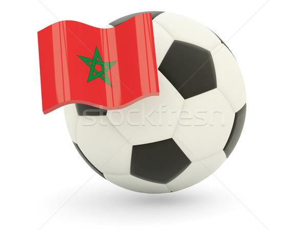 Futebol bandeira Marrocos isolado branco esportes Foto stock © MikhailMishchenko