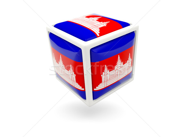 Bandeira Camboja cubo ícone isolado branco Foto stock © MikhailMishchenko
