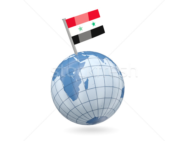 Foto stock: Globo · bandeira · Síria · azul · isolado · branco