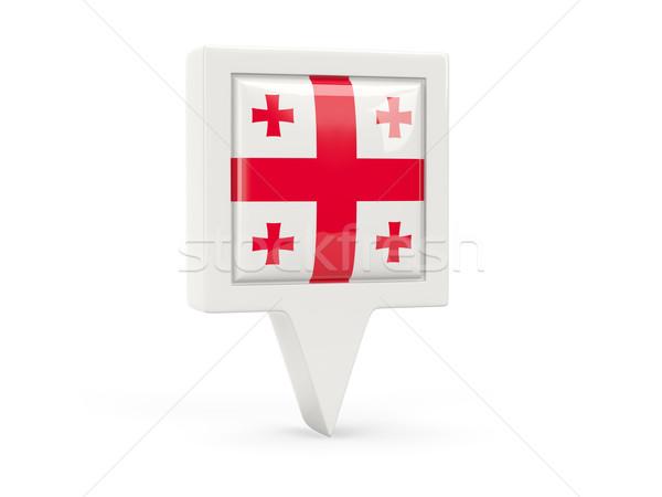 квадратный флаг икона Грузия изолированный белый Сток-фото © MikhailMishchenko