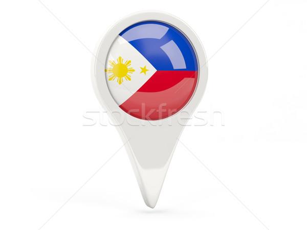 Pavillon icône Philippines isolé blanche carte Photo stock © MikhailMishchenko