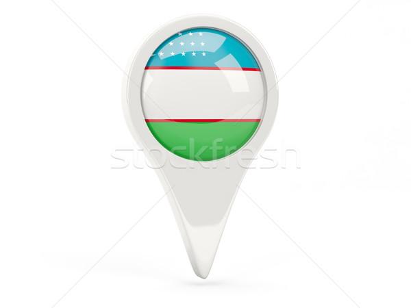 Zászló ikon Üzbegisztán izolált fehér térkép Stock fotó © MikhailMishchenko