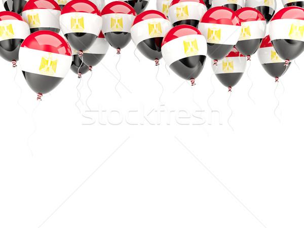 Balão quadro bandeira Egito isolado branco Foto stock © MikhailMishchenko