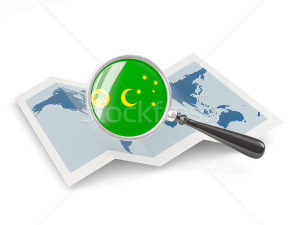 Magnified flag of cocos islands with map Stock photo © MikhailMishchenko