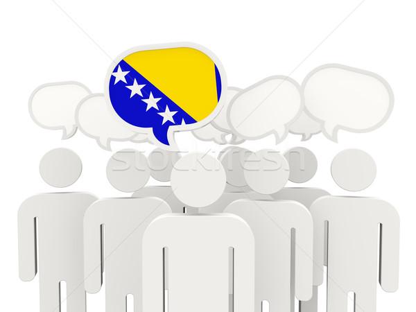 Personas bandera Bosnia Herzegovina aislado blanco reunión Foto stock © MikhailMishchenko