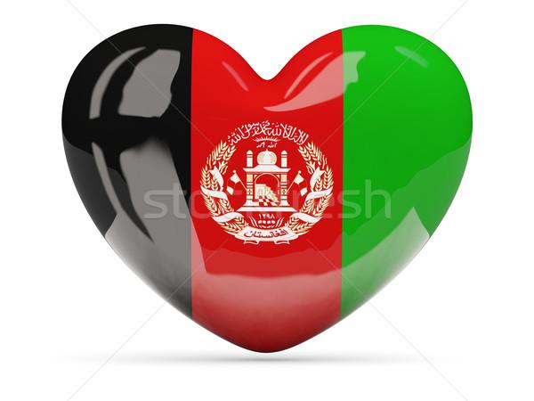 Szív alakú ikon zászló Afganisztán izolált Stock fotó © MikhailMishchenko